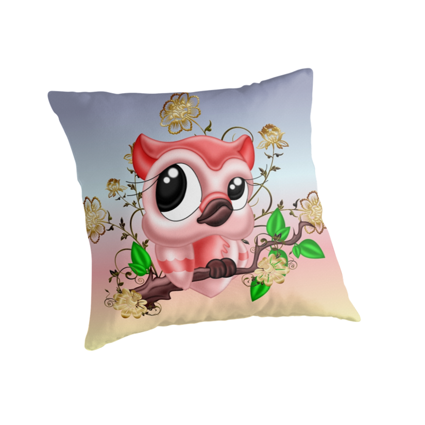 Pretty Pink Owl .. throw cushions  by LoneAngel