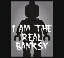 """Black Minifig with """"I am the Real Banksy"""" slogan [Large] by Customize My Minifig Kids Clothes"""