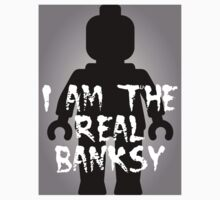 "Black Minifig with ""I am the Real Banksy"" slogan [Medium] by Customize My Minifig by ChilleeW"