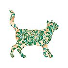 Cat Silhouette 2 - Green Vintage Damask Pattern by silvianeto