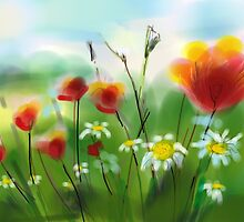 *Poppies and Daisies Painting* by Darlene Lankford Honeycutt