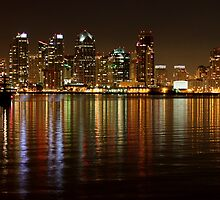 San Diego Skyline Night by Henrik Lehnerer
