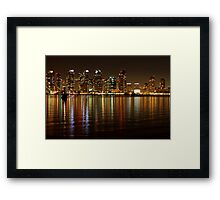 San Diego Skyline Night Framed Print