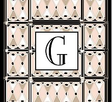 1920s Pink Champagne Gatsby Monogram letter G by CecelyBloom