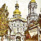 A digital painting of The Lavra Gate the Gate Church of the Trinity Kiev, Ukraine (Russian Empire) 19th century by Dennis Melling