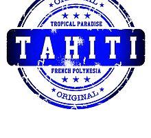 TAHITI Blue Stamp by dejava