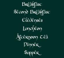 Hobbit Meal Times (White) by FandomsFriend