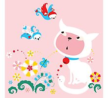 Cute White Kitty with Birds Photographic Print