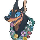 Doberman Flowers by JimHiro