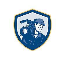 Cameraman Film Crew HD Camera Video Shield Retro by patrimonio
