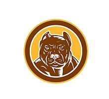 Pitbull Dog Mongrel Head Circle Woodcut by patrimonio