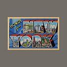 Howdy from New York Vintage Postcard Design by Framerkat