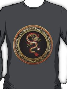 Golden Chinese Dragon Fucanglong on Black  T-Shirt