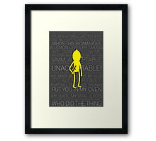 Lemongrab Silhouette & Quotes Framed Print