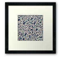 Teal Garden - floral doodle pattern in cream & navy blue Framed Print
