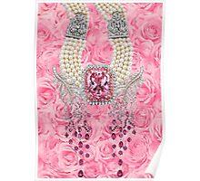Barbie Pink Diamond Rose Pearls Print Poster