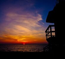 Sunrise at the Lifeguard Stand  by Eyecbeauty