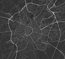 Brussels, Belgium Map. (White on black) by Graphical-Maps