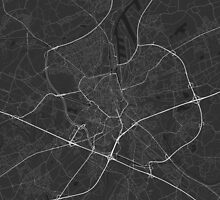 Ghent, Belgium Map. (White on black) by Graphical-Maps