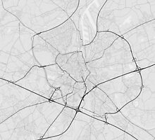 Ghent, Belgium Map. (Black on white) by Graphical-Maps