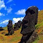 Easter Island moai statues by kermekx