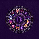 Virgo - Zodiac Lightburst Circle by ifourdezign