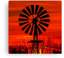 Midwestern Windmill Sunrise Silhouette Canvas Print