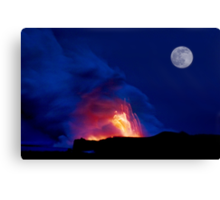 Moon Over Kilauea Volcano at Kalapana  Canvas Print