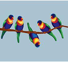 Colorful cheeky rainbow lorikeets on a branch by goanna