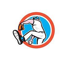 Baseball Pitcher Throwing Ball Circle Cartoon by patrimonio