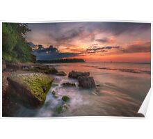 Rocky Beach Sunset Poster