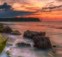 Rocky Beach Sunset Sticker
