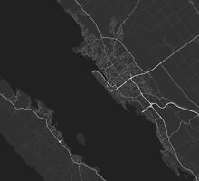 Zadar, Croatia Map. (White on black) by Graphical-Maps