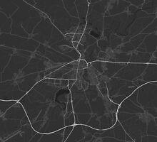 Plzen, Czech Republic Map. (White on black) by Graphical-Maps