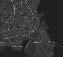 Copenhagen, Denmark Map. (White on black) by Graphical-Maps