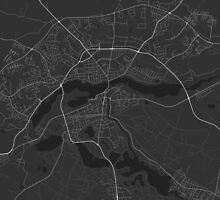 Silkeborg, Denmark Map. (White on black) by Graphical-Maps