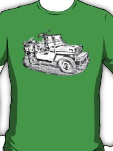 Willys World War Two Army Jeep Illustration T-Shirt