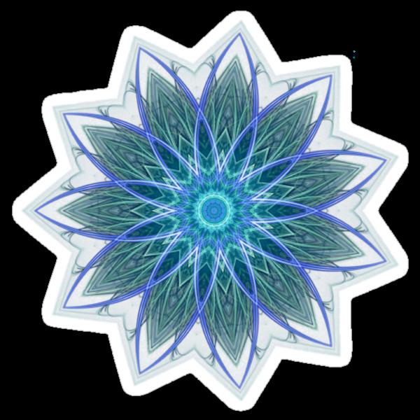 Fractal Flower - Blue by Leah McNeir