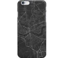 Newcastle, England Map. (White on black) iPhone Case/Skin
