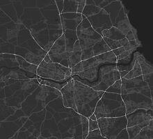 Newcastle, England Map. (White on black) by Graphical-Maps