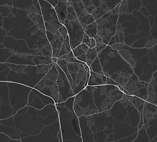 Stoke, England Map. (White on black) by Graphical-Maps