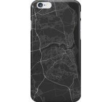 Sunderland, England Map. (White on black) iPhone Case/Skin