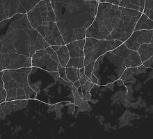 Helsinki, Finland Map. (White on black) by Graphical-Maps