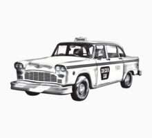 Checkered Taxi Cab Illustrastion Kids Clothes