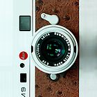 Vintage Classic retro White leica m9 leather camera by Johnny Sunardi