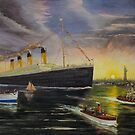 RMS Titanic enters NY Harbor 1912  by Woodie