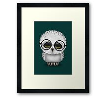 Cute Baby Snowy Owl Wearing Glasses on Teal Blue Framed Print