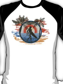 Surfing - Summer Sun and Palm Trees and Paint Brushes T-Shirt