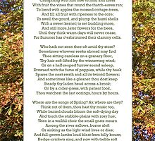"""Ode to Autumn"" by Keats, especially good as a card. by Philip Mitchell"