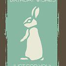 Modern Stylish Rabbit With Grunge Edges In Brown And Mint  by Moonlake